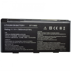 Batterie compatible MSI BTY-M6D 11.1V 7200mAh GT60 / GT70 / GT660 / GT663 / GT670 / GT680 / GT683 / GT760 / GT780 / GT783